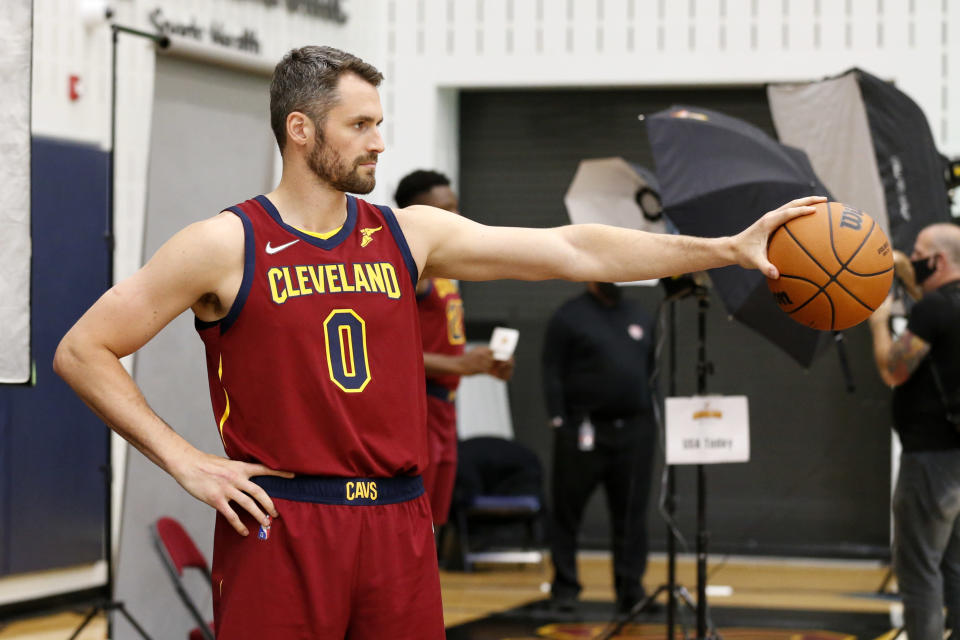 Cleveland Cavaliers' Kevin Love poses for a portrait during the NBA basketball team's media day, Monday, Sept. 27, 2021, in Independence, Ohio. (AP Photo/Ron Schwane)
