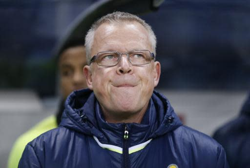 FILE - In this Friday, Nov. 10, 2017 file photo, Sweden coach Janne Andersson waits for the start of the World Cup qualifying play-off first leg soccer match between Sweden and Italy, at the Friends Arena in Stockholm. (AP Photo/Frank Augstein, File)