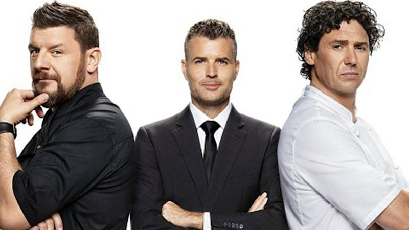 MKR judges Manu Feildel and Pete Evans and Colin Fassnidge.