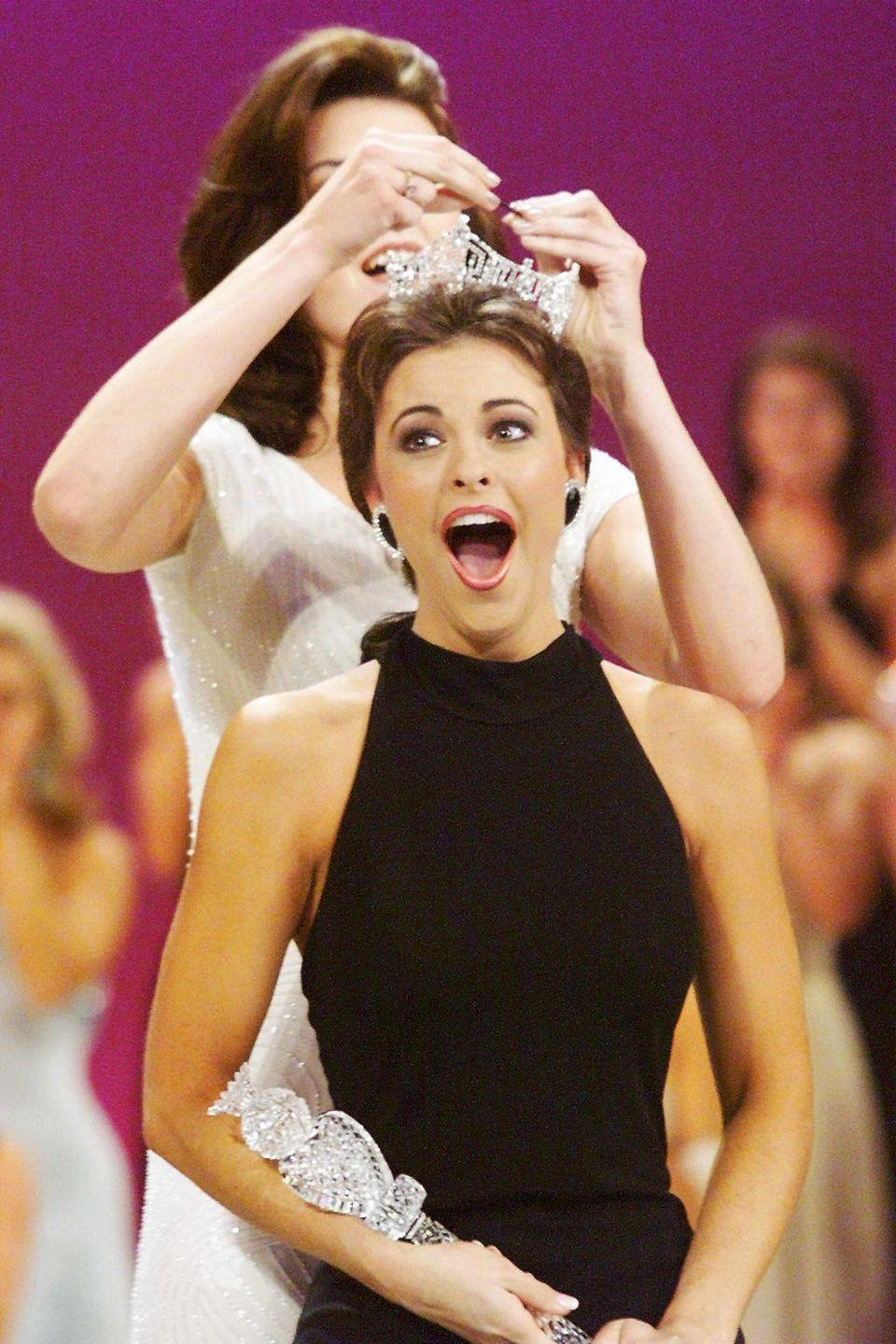<p>After years of glitter and beads, Virginia's Nicole Johnson won the crown in a simple black gown. The entire look—down to her crown and diamond earrings—drew inspiration from Audrey Hepburn in <em>Breakfast at Tiffany's</em>.</p>