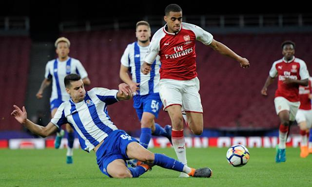 Diogo Leite challenges Arsenal's Yassin Fortune during Porto's youth-team match at the Emirates Stadium on Tuesday.