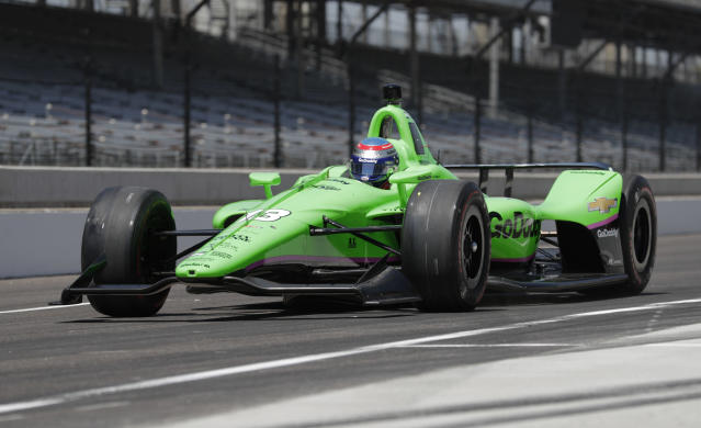 IndyCar driver Danica Patrick drives at the Indianapolis Motor Speedway in Indianapolis, Tuesday, May 1, 2018. (AP Photo/Michael Conroy)