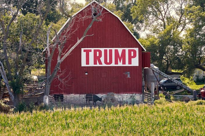 FILE - In this July 24, 2018 file photo, corn grows in front of a barn carrying a large Trump sign in rural Ashland, Neb. The Trump administration is following through on a plan to allow year-round sales of gasoline mixed with 15% ethanol. The Environmental Protection Agency announced the change Friday, May 31, 2019, ending a summertime ban imposed out of concerns for increased smog from the higher ethanol blend. The change also fulfills a pledge that President Donald Trump made to U.S. corn farmers to allow the higher ethanol sales year-round.