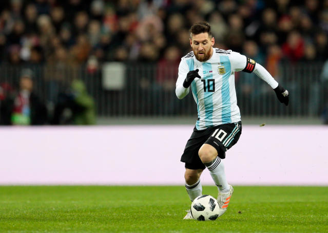 "<a class=""link rapid-noclick-resp"" href=""/soccer/players/372884/"" data-ylk=""slk:Lionel Messi"">Lionel Messi</a> could be headed stateside for a friendly against the United States in October. (AP Photo/Ivan Sekretarev, File)"