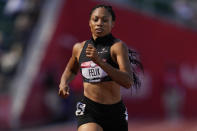 Allyson Felix win the first heat of the women's 400-meter run at the U.S. Olympic Track and Field Trials Friday, June 18, 2021, in Eugene, Ore.(AP Photo/Ashley Landis)