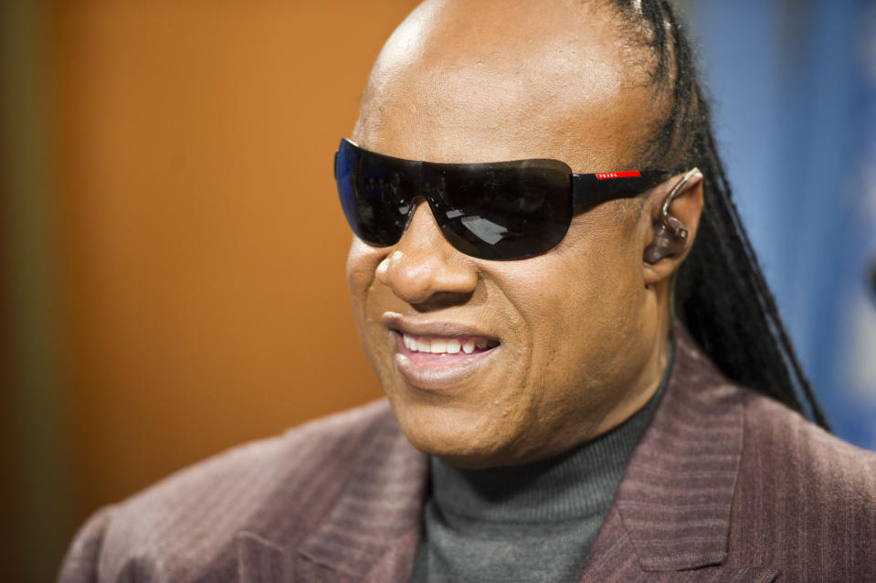 FILE - In this Jan. 16, 2013 file photo provided by the United Nations, American recording artist Stevie Wonder records a public service announcement for the United Nations at United Nations headquarters in New York. Wonder, a United Nations Messenger of Peace, announced a concert will premiere simultaneously on BET, Centric, VH1 Soul, VH1 Classis and Palladia on Feb. 23. It originally took place at the General Assembly Hall at United Nations Headquarters last October. (AP Photo/United Nations, Mark Garten)