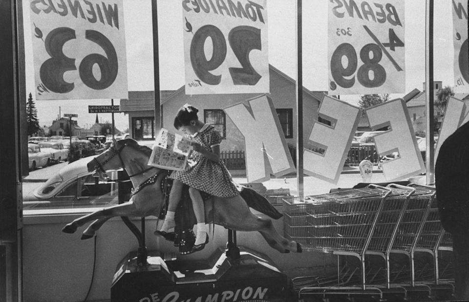 """<p>Kiddie rides became the staple in the '50s and '60s, and can still be found in some stores today. The coin-operated machines were a huge moneymaker for stores and in 1953 were named that year's <a href=""""https://www.theatlantic.com/technology/archive/2014/12/the-rise-and-fall-of-the-american-kiddie-ride/383942/"""" rel=""""nofollow noopener"""" target=""""_blank"""" data-ylk=""""slk:fastest-growing business"""" class=""""link rapid-noclick-resp"""">fastest-growing business</a>.</p>"""