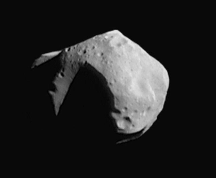 Asteroid Mathilde was photographed on June 27, 1997, by NASA's NEAR -- Near Earth Asteroid Rendezvous -- spacecraft, 2,400 km away from the asteroid.