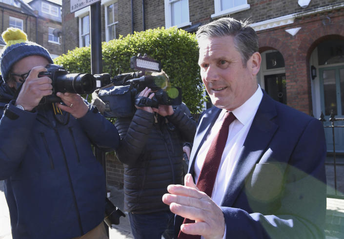 Britain's opposition Labour Party leader Keir Starmer leaves his home in London, following the declaration that the Labour Party has lost the Hartlepool parliamentary election, Friday May 7, 2021. Britain's governing Conservative Party has won the Hartlepool election, dealing a blow to the Labour Party, with other by-election results still to be declared. (Stefan Rousseau/PA via AP)