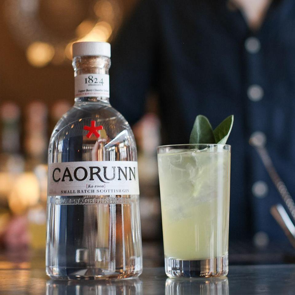 <p><strong>What you need:</strong></p><p>50ml Caorunn gin</p><p>150ml Herbal apple soda</p><p>1 part lemon juice</p><p>7 parts apple juice</p><p>7 parts green tea</p><p><strong>Method:</strong></p><p>Hot brew the green tea to extract the flavour and tannins, and allow to cool.</p><p>Mix ingredients well and chill in a fridge. </p><p>Carbonate using a sodastream.<br></p>