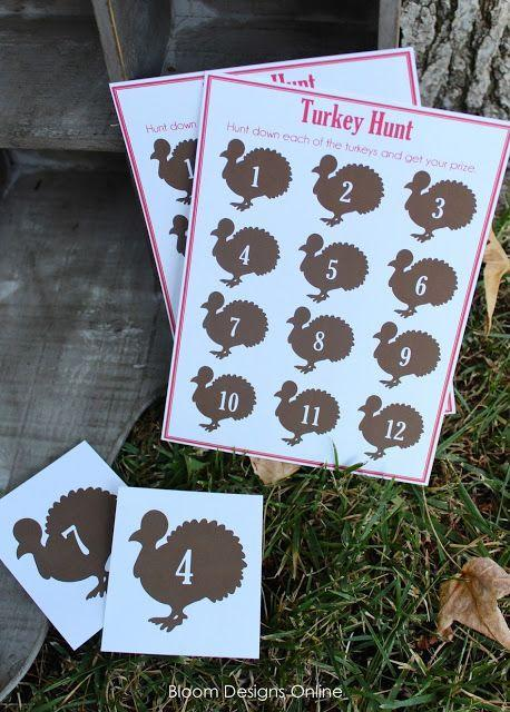 """<p>This is no wild goose chase! Using these fun printables, create a turkey-themed scavenger hunt for your kids right in your own backyard. If they manage to track down every one of the 12 turkeys, they'll win a small prize.</p><p><strong>Get the tutorial at <a href=""""http://bloomdesignsonline.com/2012/11/turkey-hunt.html"""" rel=""""nofollow noopener"""" target=""""_blank"""" data-ylk=""""slk:Bloom Designs Online"""" class=""""link rapid-noclick-resp"""">Bloom Designs Online</a>.</strong></p><p><strong><a class=""""link rapid-noclick-resp"""" href=""""https://www.amazon.com/Madelaine-Detailed-3-dimensional-Semi-solid-Chocolate/dp/B07DTYLLCQ?ref_=fsclp_pl_dp_1&tag=syn-yahoo-20&ascsubtag=%5Bartid%7C10050.g.4698%5Bsrc%7Cyahoo-us"""" rel=""""nofollow noopener"""" target=""""_blank"""" data-ylk=""""slk:SHOP CHOCOLATE TURKEYS"""">SHOP CHOCOLATE TURKEYS</a><br></strong></p>"""