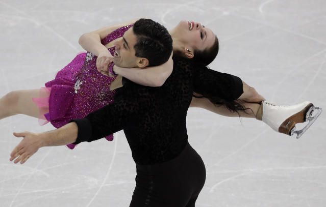 <p>Anna Cappellini and Luca Lanotte of Italy perform during the ice dance, short dance figure skating in the Gangneung Ice Arena at the 2018 Winter Olympics in Gangneung, South Korea, Monday, Feb. 19, 2018. (AP Photo/David J. Phillip) </p>