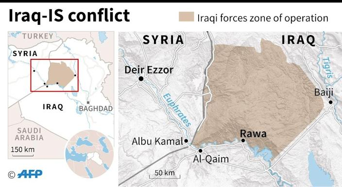 Map of the Syria-Iraq border region where Iraqi forces have launched an operation to clear the last Islamic State (IS) group holdouts. (AFP Photo/Gillian HANDYSIDE)