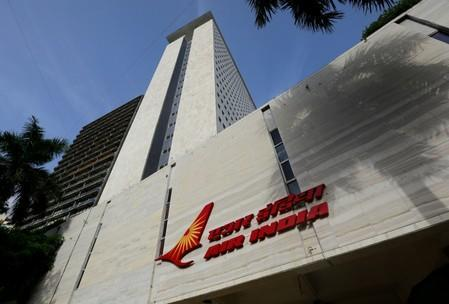 The Air India logo is seen on the facade of its office building in Mumbai