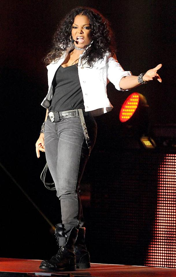 "On Thursday night, Janet Jackson -- another fabulous singer in her 40s -- strutted her stuff at the Greek Theatre in Los Angeles. But don't expect to see Ms. Jackson at the ""Michael Forever Tribute"" concert in Wales on October 8, since it coincides with Dr. Conrad Murray's trial. ""Because of the trial, the timing of this tribute to our brother would be too difficult for me,"" she said in a statement. Jeff Kravitz/<a href=""http://filmmagic.com/"" target=""new"">FilmMagic.com</a> - September 1, 2011"