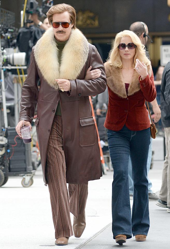 "Hello '70s! Will Ferrell and Christina Applegate looked pretty groovy while shooting scenes for the upcoming ""Anchorman"" sequel in Manhattan this week. (5/20/2013)"