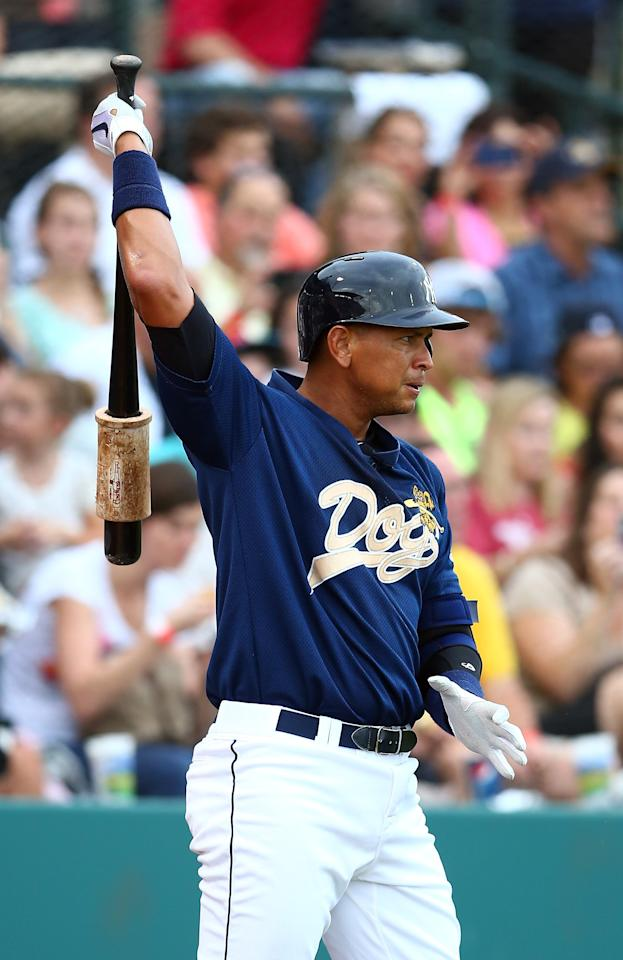CHARLESTON, SC - JULY 02: Alex Rodriguez of the New York Yankess prepares to bat during his game for the Charleston RiverDogs at Joseph P. Riley Jr. Park on July 2, 2013 in Charleston, South Carolina. (Photo by Streeter Lecka/Getty Images)