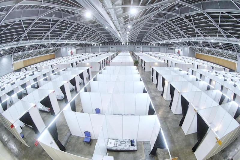 A hall at the Singapore EXPO Convention and Exhibition Centre, which has been repurposed into a COVID-19 community care facility. (PHOTO: MOH)