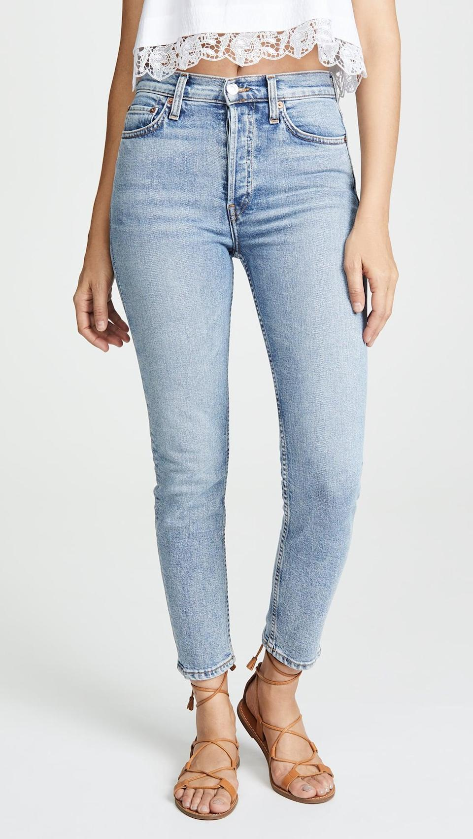 """<p>""""These <span>Re/Done High Rise Ankle Crop Jeans</span> ($260) have the look of a vintage jean, but they're made with stretch. I find myself reaching for them constantly."""" - IY</p>"""