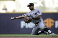 Chicago White Sox's Leury Garcia throws out a runner during the third inning of a baseball game against the Milwaukee Brewers, Saturday, July 24, 2021, in Milwaukee. (AP Photo/Aaron Gash)