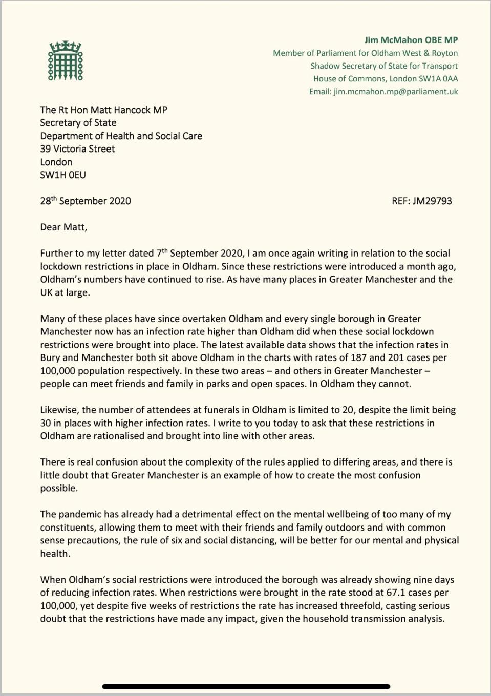Oldham MP Jim Mc Mahon has written to Matt Hancock asking him to relax lockdown rules in line with surrounding areas