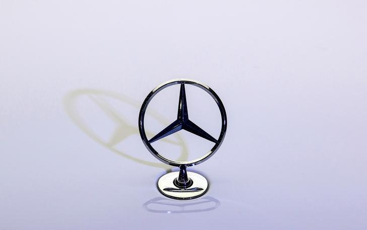 A Mercedes-Benz logo is seen on S500 car at the company's vehicle assembly plant in Chakan