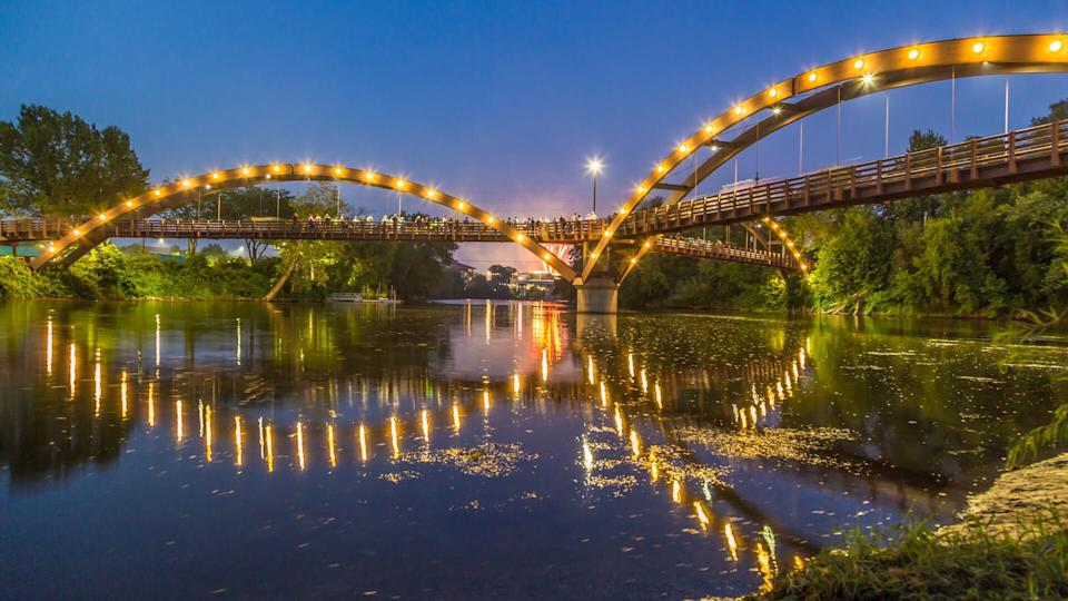 The Tridge is the formal name of a three-way wooden footbridge spanning the confluence of the Chippewa and Tittabawassee Rivers near downtown Midland, Michigan, in the Tri-Cities region.