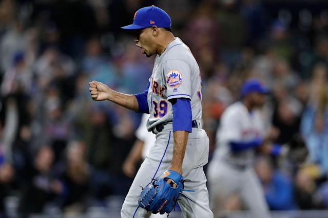 "<a class=""link rapid-noclick-resp"" href=""/mlb/players/10214/"" data-ylk=""slk:Edwin Diaz"">Edwin Diaz</a> isn't just a three-out closer anymore. (AP Photo/Gregory Bull)"