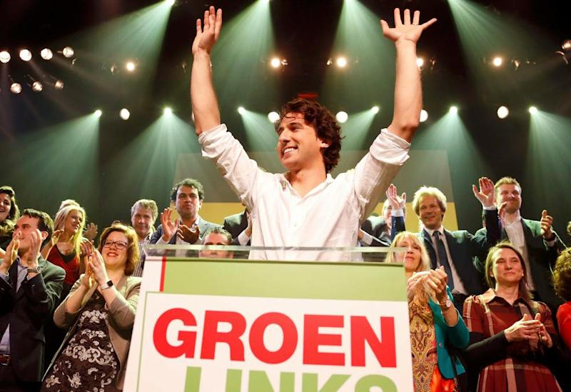 Jesse Klaver with supporters in Amsterdam on Wednesday.