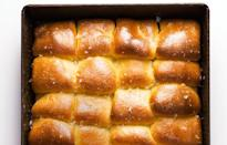 "A top coat of melted butter and salt makes these dinner rolls irresistible. <a href=""https://www.bonappetit.com/recipe/parker-house-rolls?mbid=synd_yahoo_rss"" rel=""nofollow noopener"" target=""_blank"" data-ylk=""slk:See recipe."" class=""link rapid-noclick-resp"">See recipe.</a>"