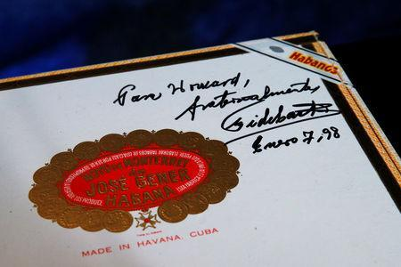 A box of cigars autographed by Fidel Castro is displayed by Julien's Auctions in New York City, U.S., December 1, 2016. REUTERS/Brendan McDermid