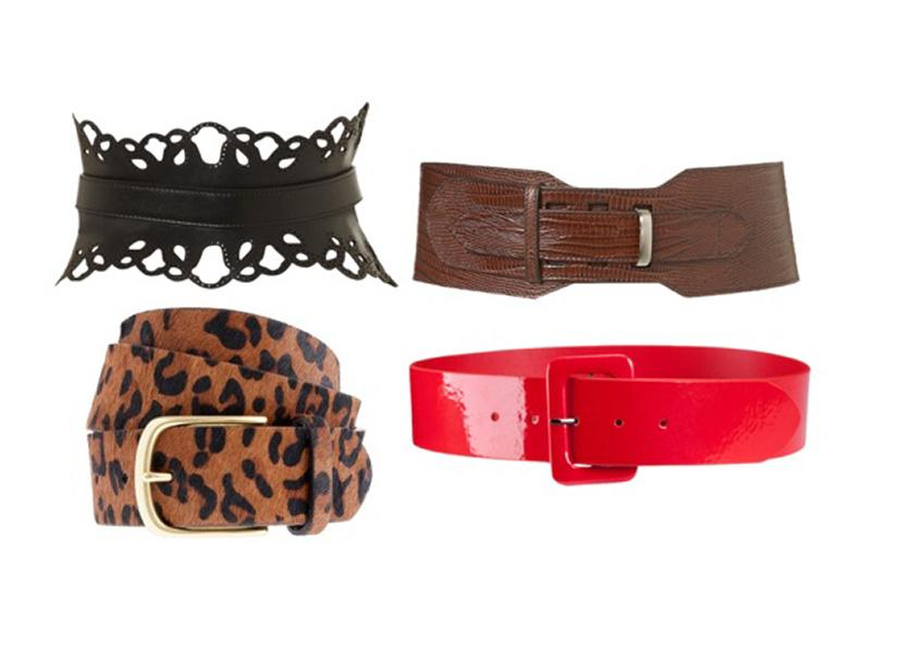 Wide leather belts slim your waist and make you stand up straighter, making your torso appear longer. Clockwise from left: Topshop, $80; Topshop, $70; H&M, $7.99; J. Crew, $60.