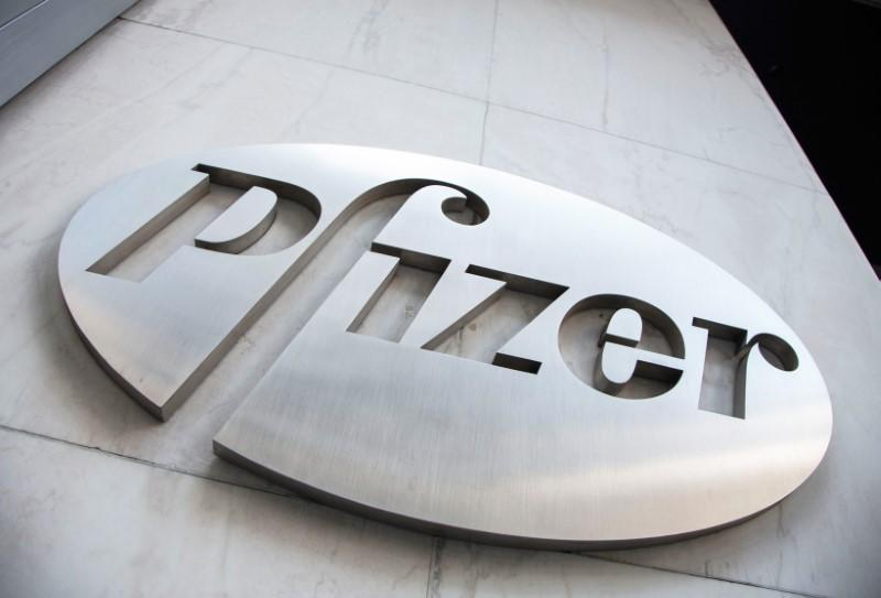 FILE PHOTO: The Pfizer logo is seen at their world headquarters in New York