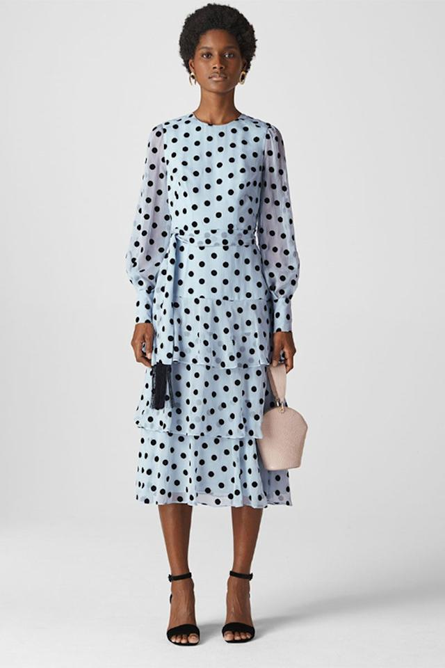 "<p>Spot tiered dress, £329, Whistles</p><p><a rel=""nofollow"" href=""https://www.whistles.com/women/clothing/dresses/alanza-spot-tiered-dress-29344.html?dwvar_alanza-spot-tiered-dress-29344_color=Grey%2FMulti&cgid=Dresses_Clothing_WW"">BUY NOW</a> </p>"