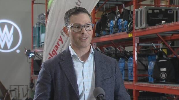 Alberta Minister of Jobs, Economy and Innovation Doug Schweitzer announced changes to the province's film and television tax credit on Friday at the Calgary Film Centre. (CBC - image credit)