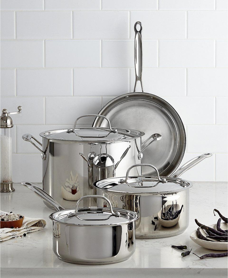 "Get cooking with this set of stainless steel pots and pans from Cuisinart. This cookware is meant to distribute heat evenly and comes with a skillet, stockpot and two sauce pans. <a href=""https://fave.co/350nvka"" target=""_blank"" rel=""noopener noreferrer"">Originally $200, get the set now for $70 at Macy's</a>."