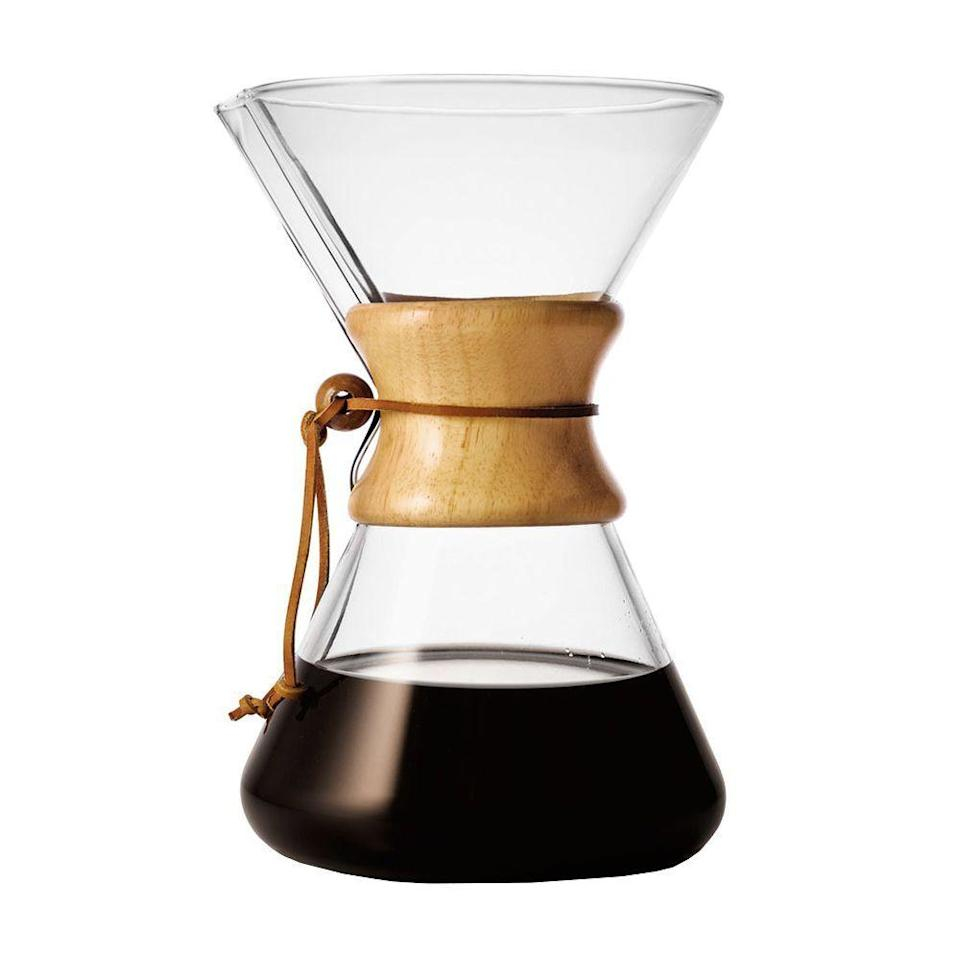 """<p><strong>Chemex</strong></p><p>amazon.com</p><p><strong>$45.64</strong></p><p><a href=""""https://www.amazon.com/dp/B000I1WP7W?tag=syn-yahoo-20&ascsubtag=%5Bartid%7C2089.g.34239500%5Bsrc%7Cyahoo-us"""" rel=""""nofollow noopener"""" target=""""_blank"""" data-ylk=""""slk:Shop Now"""" class=""""link rapid-noclick-resp"""">Shop Now</a></p><p>We love this classic pour-over Chemex coffee maker <a href=""""https://www.bestproducts.com/eats/gadgets-cookware/a32189577/chemex-pour-over-coffee-maker-review/"""" rel=""""nofollow noopener"""" target=""""_blank"""" data-ylk=""""slk:for so many reasons"""" class=""""link rapid-noclick-resp"""">for so many reasons</a>, and your recipient will, too. Many <a href=""""https://caffeumbria.com/blogs/news/brewing-the-perfect-cup-of-coffee-with-chemex"""" rel=""""nofollow noopener"""" target=""""_blank"""" data-ylk=""""slk:independently owned coffee shops"""" class=""""link rapid-noclick-resp"""">independently owned coffee shops</a> credit this device as being the secret behind a better pour, so if you have a serious coffee drinker on your hands, it definitely won't disappoint.</p>"""