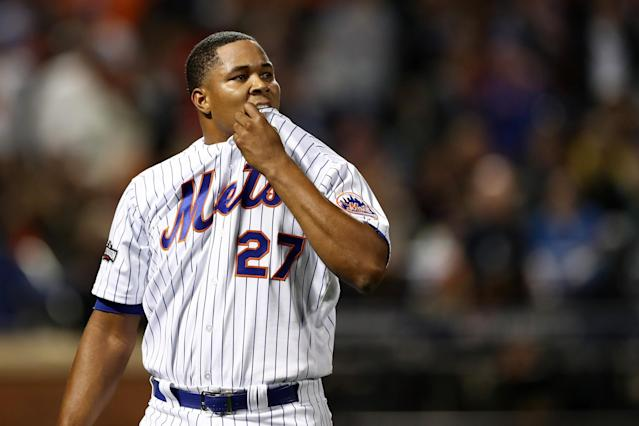 "Mets closer <a class=""link rapid-noclick-resp"" href=""/mlb/players/9299/"" data-ylk=""slk:Jeurys Familia"">Jeurys Familia</a> was suspended 15 games by MLB. (Getty Images)"