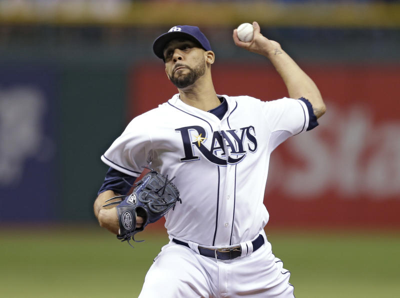 Tampa Bay Rays starting pitcher David Price delivers to a Boston Red Sox batter during the first inning of a baseball game Wednesday, May 15, 2013, in St. Petersburg, Fla. (AP Photo/Chris O'Meara)