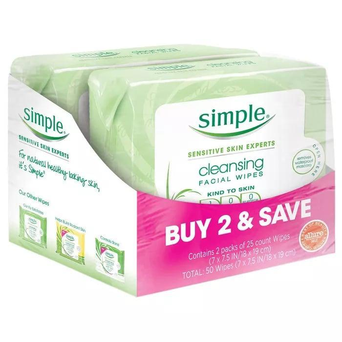 "<p>The <a href=""https://www.popsugar.com/buy/Simple-Cleansing-Facial-Wipes-587515?p_name=Simple%20Cleansing%20Facial%20Wipes&retailer=target.com&pid=587515&price=9&evar1=bella%3Aus&evar9=30490550&evar98=https%3A%2F%2Fwww.popsugar.com%2Fbeauty%2Fphoto-gallery%2F30490550%2Fimage%2F47613380%2FMakeup-Wipes-Simple-Cleansing-Facial-Wipes&list1=hair%2Cmakeup%2Cbeauty%20products%2Cbeauty%20shopping%2Cdrugstore%20beauty%2Cskin%20care&prop13=mobile&pdata=1"" class=""link rapid-noclick-resp"" rel=""nofollow noopener"" target=""_blank"" data-ylk=""slk:Simple Cleansing Facial Wipes"">Simple Cleansing Facial Wipes</a> ($9) are always good to have on hand. The sensitive-skin friendly cleansing wipes leave skin feeling fresh, clean, and hydrated.</p>"