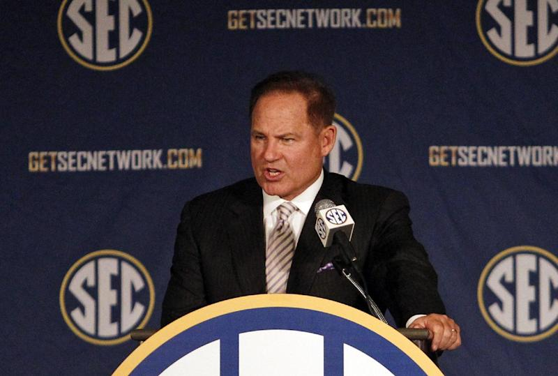 LSU coach Les Miles speaks to the media at the Southeastern Conference NCAA college football media days, Wednesday, July 16, 2014, in Hoover, Ala