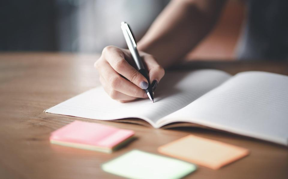 """<p>Commit to three goals or specific intentions you want to accomplish today, things like """"I will take things one task at a time,"""" or """"I will stay grounded."""" Mancao said these types of goals """"can help set the tone for the day,"""" while keeping us grounded, goal-oriented, and less stressed.</p>"""