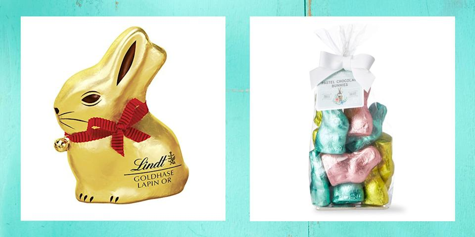 """<p>A chocolate bunny might just be the centerpiece of a great <a href=""""https://www.thepioneerwoman.com/home-lifestyle/crafts-diy/g35325574/easter-baskets/"""" rel=""""nofollow noopener"""" target=""""_blank"""" data-ylk=""""slk:Easter basket"""" class=""""link rapid-noclick-resp"""">Easter basket</a>, and for good reason: The best chocolate bunnies are as adorable as they are delicious! How did these quirky rabbit-shaped chocolates come to be? The exact origins of the Easter bunny are unclear, but <a href=""""https://www.history.com/topics/holidays/easter-symbols"""" rel=""""nofollow noopener"""" target=""""_blank"""" data-ylk=""""slk:some sources say"""" class=""""link rapid-noclick-resp"""">some sources say</a> German immigrants brought the legend of an egg-laying hare called """"Osterhase"""" or """"Oschter Haws"""" to Pennsylvania in the 17th century. Children would make nests for the hare's <a href=""""https://www.thepioneerwoman.com/home-lifestyle/crafts-diy/g35374475/easter-egg-designs/"""" rel=""""nofollow noopener"""" target=""""_blank"""" data-ylk=""""slk:colored eggs"""" class=""""link rapid-noclick-resp"""">colored eggs</a>, and eventually these Easter basket precursors expanded to include candies like chocolate bunny figurines, which also originated in Germany. <a href=""""https://www.smithsonianmag.com/arts-culture/why-are-chocolate-easter-bunnies-hollow-84480131/#:~:text=The%20answer%20is%20simple%2C%20according,bunnies%20are%20easier%20to%20eat.&text=It%20creates%20a%20much%20greater%20chocolate%20footprint%20than%20solid.%22"""" rel=""""nofollow noopener"""" target=""""_blank"""" data-ylk=""""slk:Sales really took off around 1890"""" class=""""link rapid-noclick-resp"""">Sales really took off around 1890</a>, when a Pennsylvania man named Robert L. Strohecker used a five-foot-tall chocolate rabbit as a promotion at his drugstore. </p><p>If you're a chocolate lover like Ree Drummond, you probably won't have any trouble finding a chocolate bunny you love—the options these days are endless! And they don't stop with the classic foil-wrapped milk-chocolate version. You can choose """