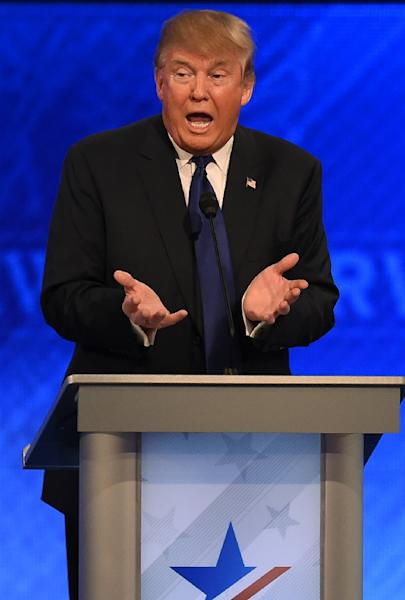 Republican presidential candidate Donald Trump stood center stage determined to cement his lead in the local polls (AFP Photo/Jewel Samad                         )