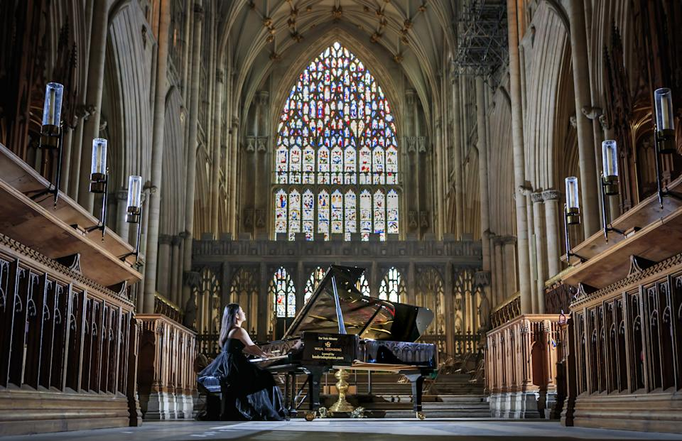 World-class concert pianist Ke Ma rehearses on a £100,000 piano at York Minster, ahead of a performance to highlight the plight of musicians and the arts. (Photo by Danny Lawson/PA Images via Getty Images)
