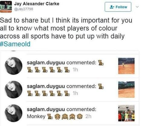<span>Jay Clarke shared some of the abuse he gets on social media last year</span> <span>Credit: Twitter </span>