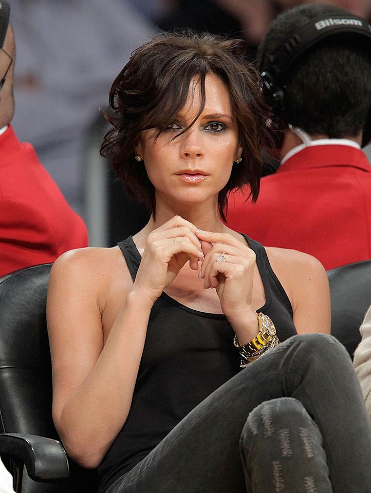 "Victoria Beckham spiced up her life with a sassy new 'do, which she debuted at a Lakers game late last week. Loves it! Noel Vasquez/<a href=""http://www.gettyimages.com/"" target=""new"">GettyImages.com</a> - October 30, 2009"