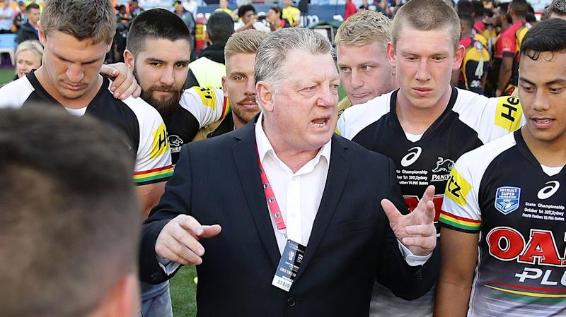 Phil Gould talking to the Penrith team.