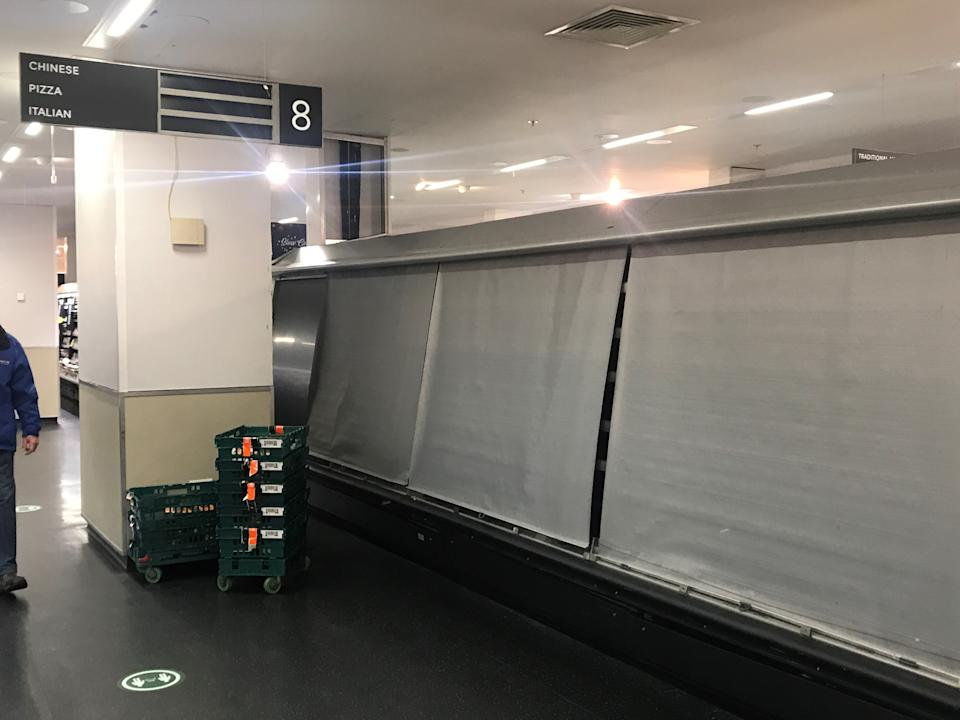 Depleted shelves in the Donegall Place Marks and Spencer store in Belfast, as major retailers in Northern Ireland continue to experience temporary disruption while they adapt to post-Brexit arrangements. (Photo by Liam McBurney/PA Images via Getty Images)