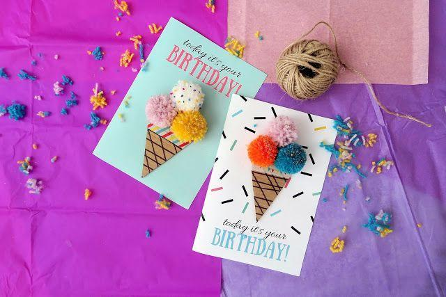 """<p>All you need is a little bit of string to make this cute pom pom ice cream cone-adorned card. Check out the tutorial below, and you can even get the printable backgrounds to get this exact look.</p><p><strong>Get the tutorial at </strong><strong><a href=""""https://mamaisdreaming.blogspot.com/2016/07/ice-cream-birthday-card-free-printable.html#"""" rel=""""nofollow noopener"""" target=""""_blank"""" data-ylk=""""slk:Mama is Dreaming Blog"""" class=""""link rapid-noclick-resp"""">Mama is Dreaming Blog</a>.</strong> </p>"""
